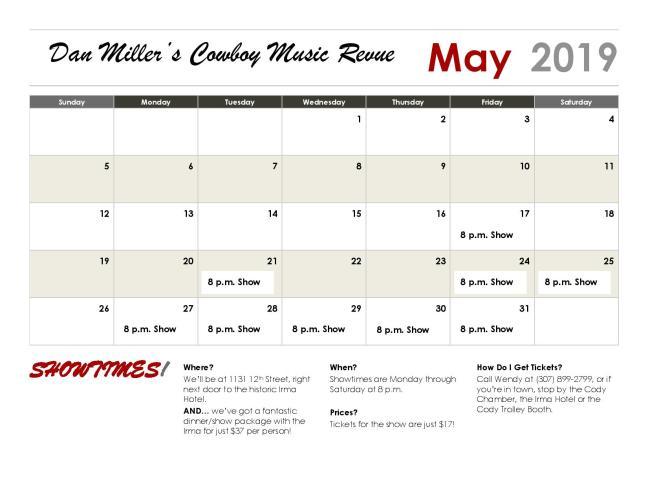 Our Summer Schedule is Here! – Dan Miller's Cowboy Music Revue